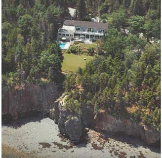 Aerial view of Inn at Bay Ledge in Bar Harbor Maine